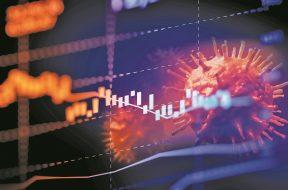 Down trend financial graph on nCov corona virus microscope image ,3d illustration